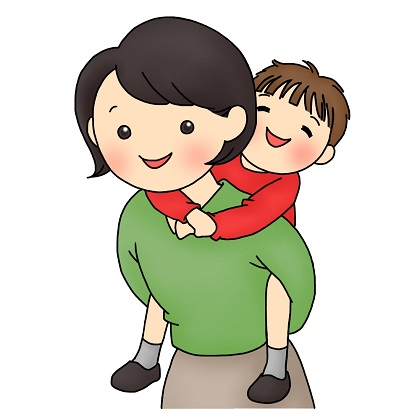 Woman piggybacking on a boy