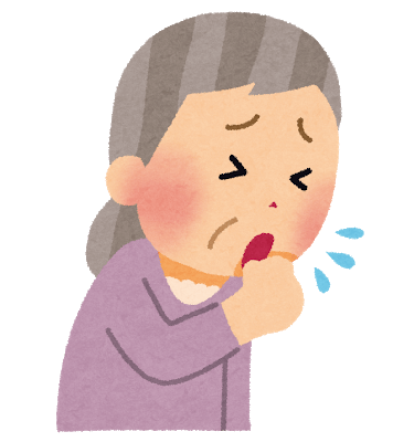 Old woman coughing